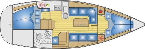 Bavaria 33 Cruiser plattegrond